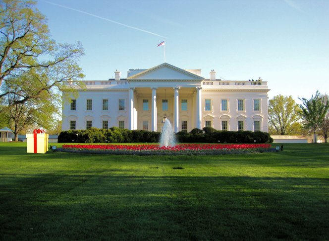 Gigantic-Gold-Plated-Package-Left-on-White-House-Lawn